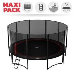Maxi pack tappeto elastico Booster Black 490 + rete + scaletta + kit d'ancoraggio + telo