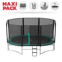 Maxi Pack Tappeto elastico Ovalì 490 + rete + scaletta + kit d'ancoraggio + telo