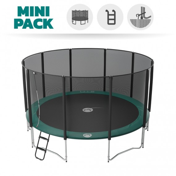 Pack basic tappeto elastico Jump'Up 460 + rete + scaletta + kit d'ancoraggio