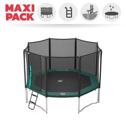 Maxi Pack Tappeto elastico Waouuh 390 + rete + scaletta + kit d'ancoraggio + telo