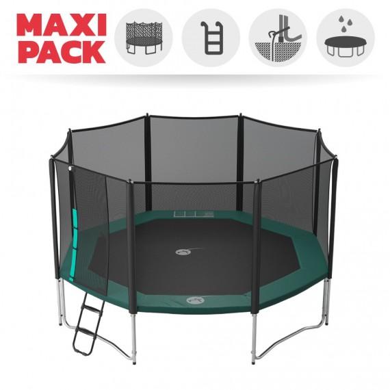 Maxi Pack Tappeto elastico Waouuh 460 + rete + scaletta + kit d'ancoraggio + telo