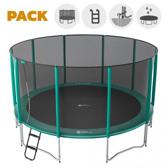 Maxi pack tappeto elastico Jump'Up 460 + rete + scaletta + kit d'ancoraggio + telo
