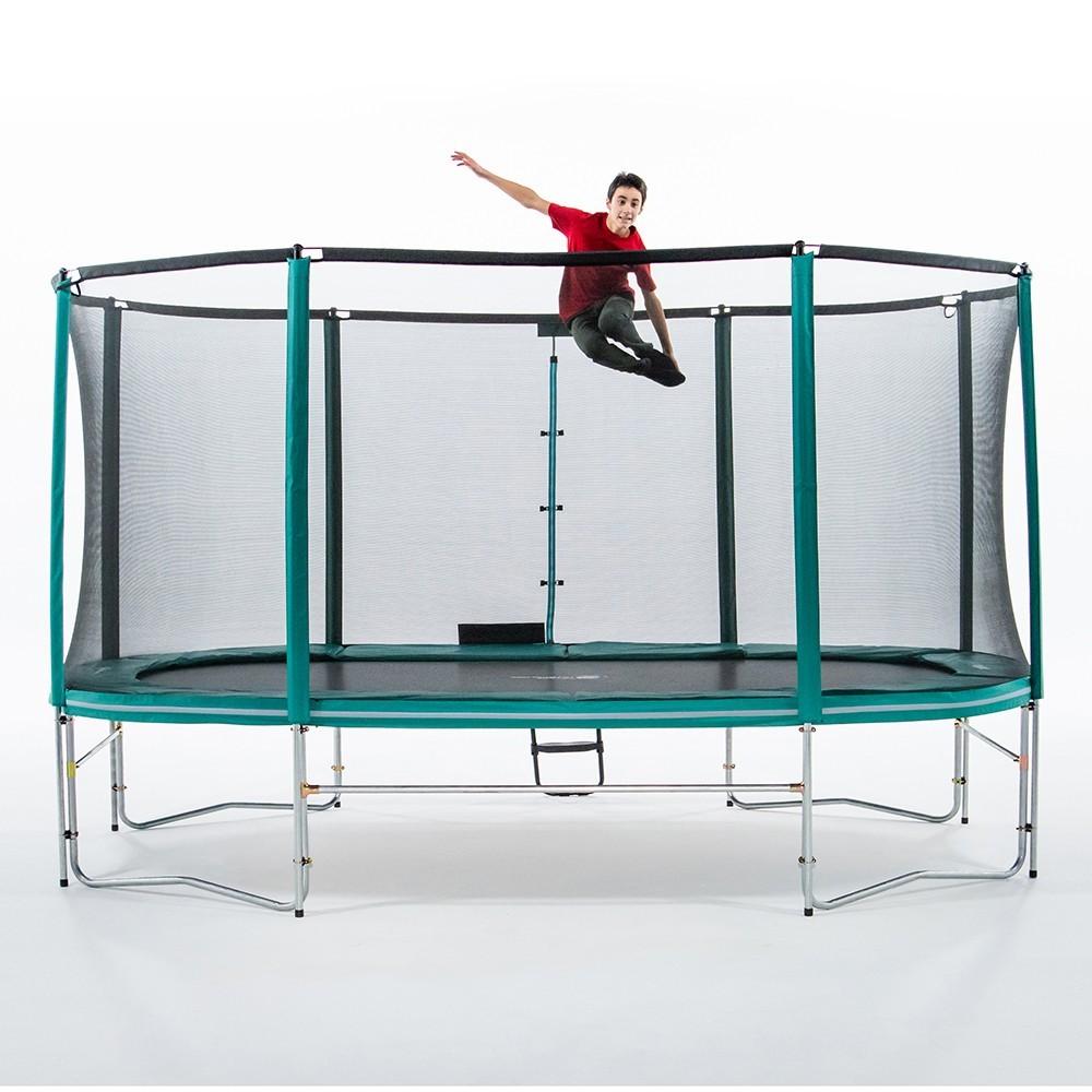 Tappeti Grandi Da Esterno tappeto elastico ovale 490 + rete + scaletta + kit d