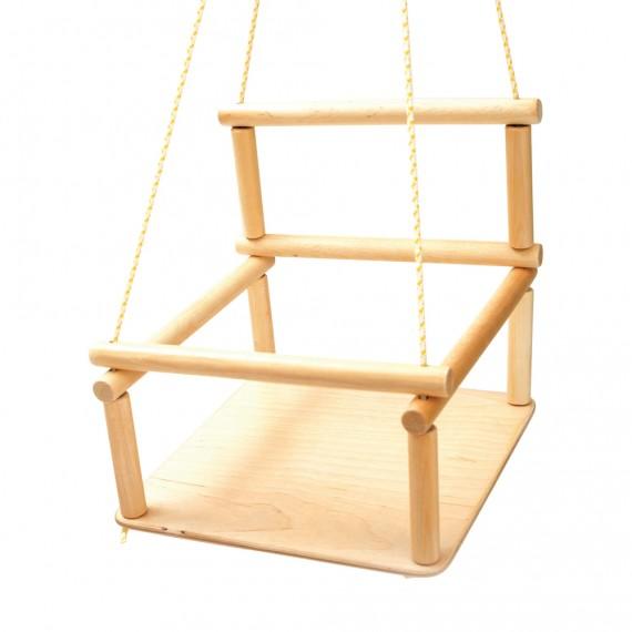 Altalena per bambini in legno per triangolo di arrampicata