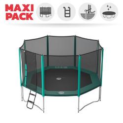 Maxi Pack Tappeto elastico Waouuh 430 + rete + scaletta + kit d'ancoraggio + telo