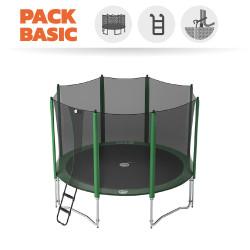 Pack basic tappeto elastico Access 360 + rete + scaletta + kit d'ancoraggio