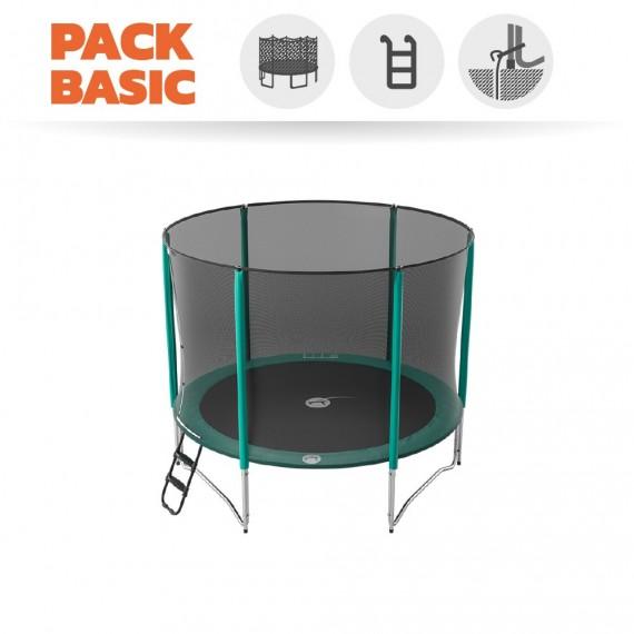 Pack basic tappeto elastico Jump'Up 300 + rete + scaletta + kit d'ancoraggio
