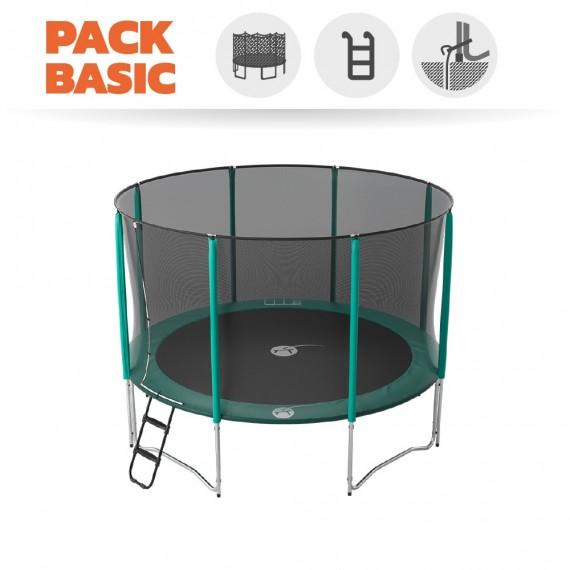 Pack basic tappeto elastico Jump'Up 360 + rete + scaletta + kit d'ancoraggio