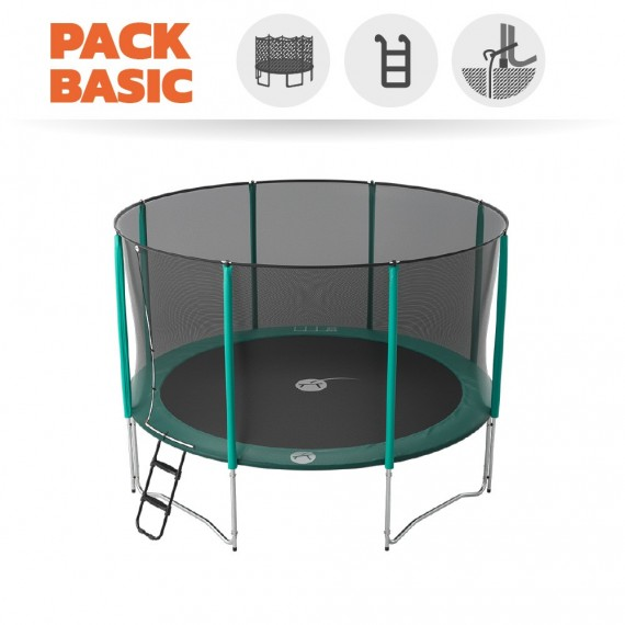 Pack basic tappeto elastico Jump'Up 390 + rete + scaletta + kit d'ancoraggio