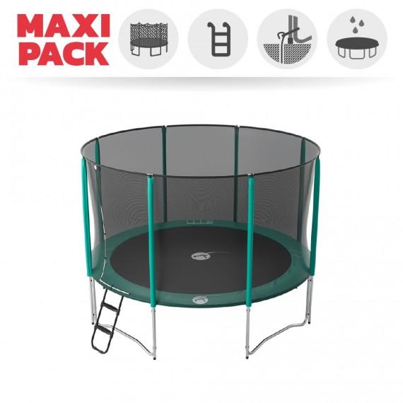 Maxi pack tappeto elastico Jump'Up 360 + rete + scaletta + kit d'ancoraggio + telo