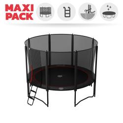 Maxi pack tappeto elastico Booster Black 360 + rete + scaletta + kit d'ancoraggio + telo