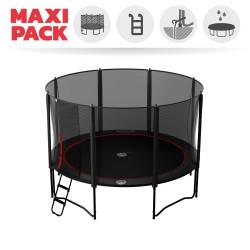 Maxi pack tappeto elastico Booster Black 390 + rete + scaletta + kit d'ancoraggio + telo