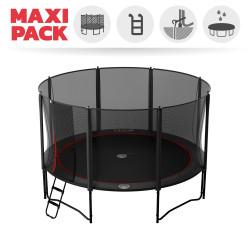 Maxi pack tappeto elastico Booster Black 430 + rete + scaletta + kit d'ancoraggio + telo