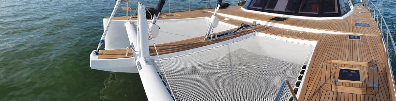 Trampolini e reti per catamarano