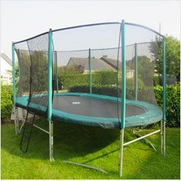 Tappeto elastico ovale da giardino con rete