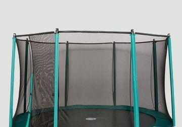Tappeto elastico da giardino con rete tessile e montanti laterali